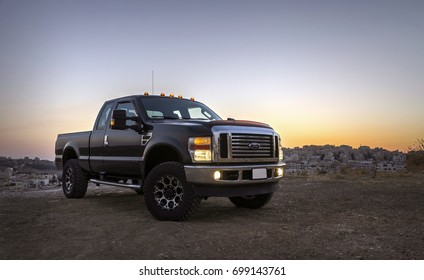 Amman, Jordan  August 18 : Ford F250 super duty truck at sunset on 18 August 2017  in Amman