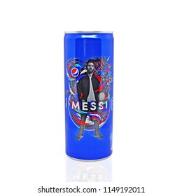 Amman, Jordan - August 4, 2018: The figure of the famous soccer player Lionel Messi on a promotional can of the popular drink Pepsi. Leonel Messi is one of the best footballers in the world.