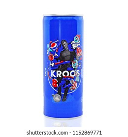 Amman, Jordan - August 4, 2018: The figure of the famous German soccer player Toni Kroos on a promotional can of the popular drink Pepsi. Toni Kroos is one of the best footballers in the world.