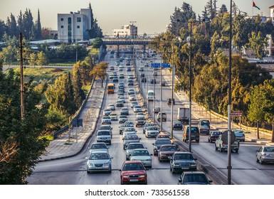 Amman, Jordan - December 23, 2015. Traffice at Queen Noor Street, one of the main streets of capital of Jordan