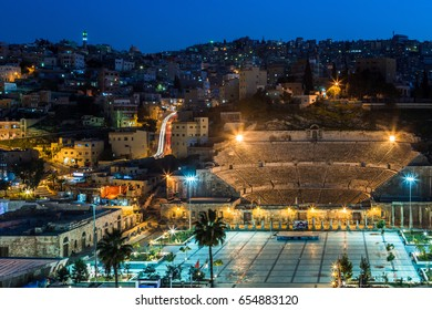 AMMAN, JORDAN - December 28: View at the roman amphitheater in Amman,Jordan