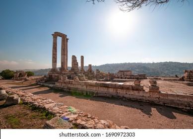 Amman Jordan December 30 2018:Amman Citadel in Amman