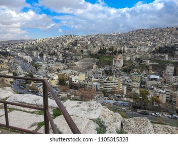AMMAN, JORDAN - FEBRUARY 13 2018: Cityscape of Amman. View from the citadel hill