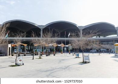Amman, Jordan – February 17, 2019: Terminal building of Amman Queen Alia International Airport (AMM) in Jordan.