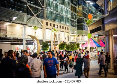 Amman, Jordan - July 2, 2015 : Abdali Boulevard is the new downtown of Amman City, fun destination for for all family during Ramadan nights.