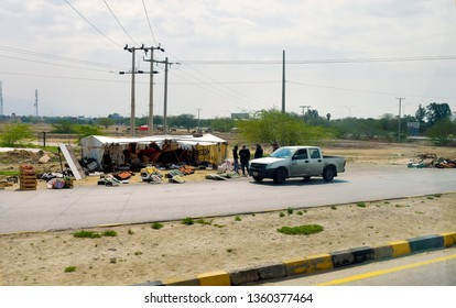 AMMAN, JORDAN - MARCH 05: Unidentified people and market stand to sell fruits and vegetables on roadside, on March 05, 2019 in Amman, Jordan