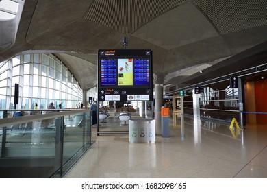 Amman, Jordan, March 2, 2020 : Airport signs at Queen Alia International airport (QAIA), Amman