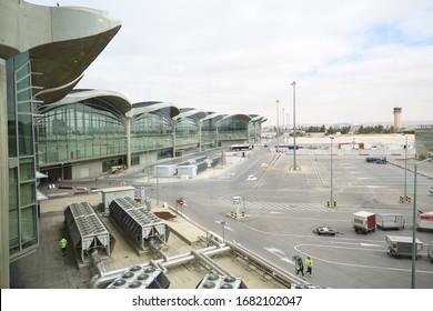 Amman, Jordan, March 2, 2020 : Outside of Queen Alia International Airport Amman