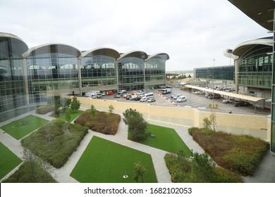 Amman, Jordan, March 2, 2020 : Outside view of Queen Alia International Airport Amman