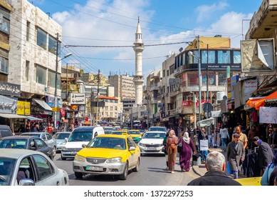 Amman, Jordan - March 28, 2019: street view of amman, the capital city of jordan