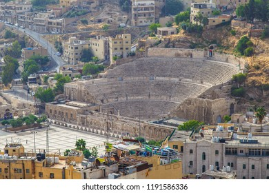 AMMAN /JORDAN - MAY 5, 2O18 : View on  ancient Roman Theater from the ancient citadel park in the center of the city, Jordan