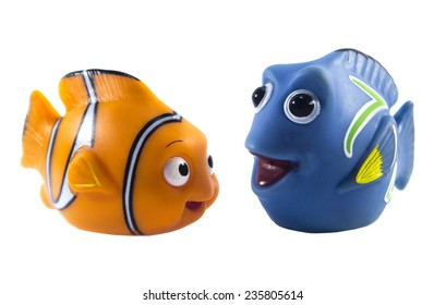 Amman, Jordan - November  1, 2014: Marlin cartoon fish toy character of Finding Nemo movie from Disney Pixar animation studio.