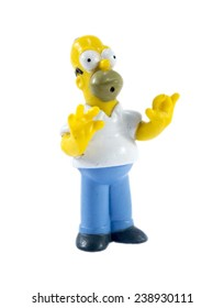 Amman, Jordan - November  1, 2014:  homer Simpson figure toy character from The Simpsons family. The Simpsons is an American animated sitcom.