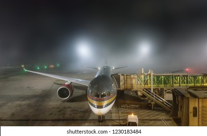 Amman - Jordan / November 2018: bad weather with heavy mist at Queen Alia international airport that delayed many flights.