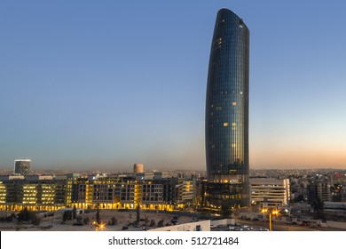 Amman Jordan - October 01, 2016: sunset on Rotana Hotel at abdali area Amman , Jordan on October 01, 2016.