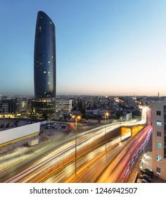 Amman, Jordan – October 1: Rotana hotel tower and Light trails at night on 01/10/2016 in Amman