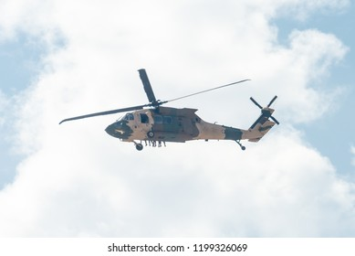 Amman / Jordan - October 10 2018: Jordanian Army Sikorsky UH-60 Black Hawk flying in Amman