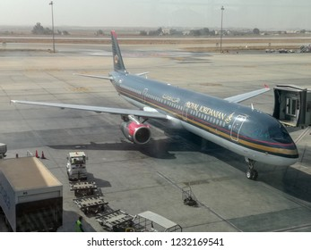 Amman, Jordan - October 20, 2018: View of a passenger aircraft of the airline Royal Jordanian at the airport in Amman, Jordan.