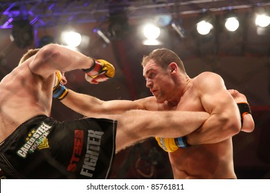 AMMAN, JORDAN - SEPTEMBER 8 : Cathal Pendred (Right) vs Danny Mitchell (left) ends in a Draw, Cage Warriors Championship Fight Night 2, Fight Card on September 8, 2011 in Amman, Jordan