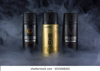 Amman, Jordan-february 1, 2018:Photo of Spray of Axe deodorant - Spray Axe is the most popular favorite in jordan.