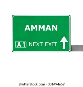 AMMAN road sign isolated on white
