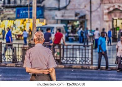 Amman - September 30, 2018: Jordanian lifestyle in the center of Amman, Jordan