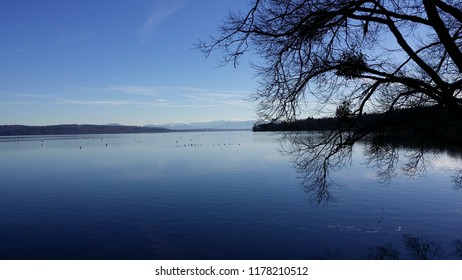 Ammersee (English: Lake Ammer) located in upper Bavaria, Germany with Alps in far background