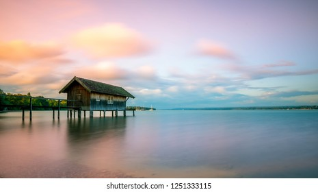Ammersee (Herrsching am Ammersee) bavaria germany lake at snuset.