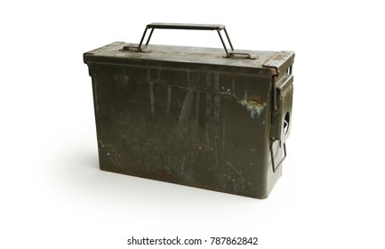 Ammo Container WWII Era with Handle Isolated on White Background