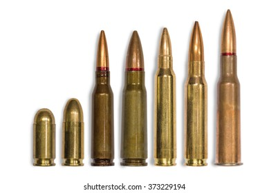 ammo for machine guns and pistols on the white background