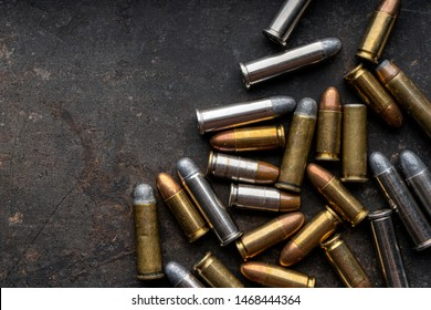 ammo.ammunition on dark background. ,Top view and free space for text input