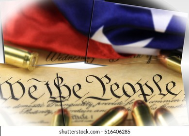 Ammunition and American flag on US Constitution - History of the Second Amendment Right to Bear Arms