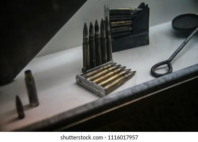 Ammunition clips, cartridge casing, bullet