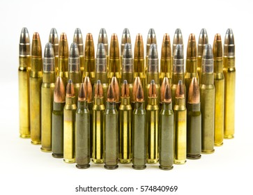 ammunition of different caliber for hunting rifle on white background