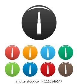 Ammunition icon. Simple illustration of ammunition icons set color isolated on white