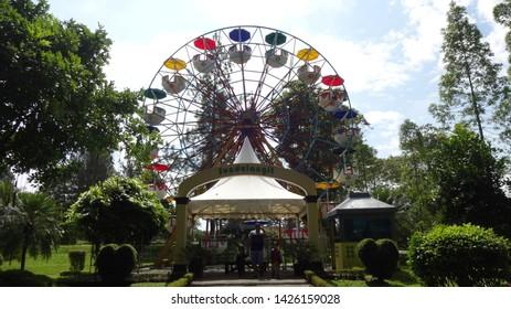 Ammusement park in nusantara flower garden, cianjur, west java, indonesia. photo taken in june 2019
