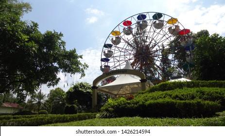 ammusement park in the nusantara flower garden in cisarua, west java, indonesia. photo taken in june 2019
