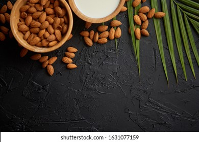 Amond seeds in wooden bowl, fresh natural milk placed on black stone background. Palm leaf as a decoration. Top view. Copy space for text.
