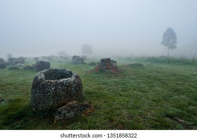Amongst a field of landmines and bombs from the Vietnam war, ancient jars are the last witnesses of a lost Laotian civilisation. The Plain of Jars, near Phonsavan, Laos, is best seen at dawn.