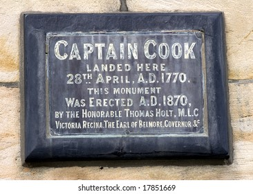 Amonument erected to commemerate the landing of captain james cook in botany bay, australia