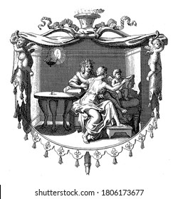 Amor as inventor of painting. A shepherdess traces the contours of her lover's face, projected by lamplight, onto the wall. Amor guides her hand. Depiction in an ornamental frame, vintage engraving.