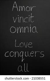 Amor vincit omnia, love conquers all written in Latin.