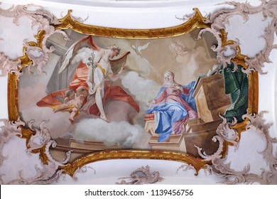 AMORBACH, GERMANY - JULY 08: Annunciation of Mary, fresco by Matthaus Gunther in Benedictine monastery church in Amorbach, Germany on July 08, 2017.