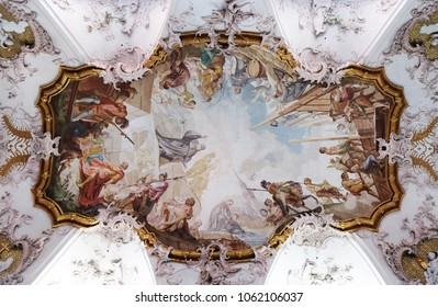 AMORBACH, GERMANY - JULY 08: Miracles of St. Benedict, fresco by Matthaus Gunther in Benedictine monastery church in Amorbach, Germany on July 08, 2017.