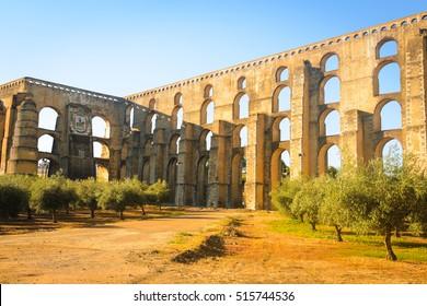 Amoreira Aqueduct in the town of Elvas. Alentejo Region. Portugal