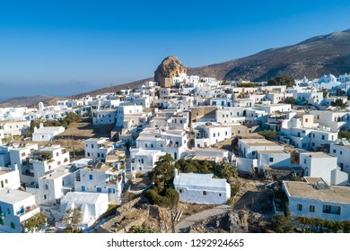 Amorgos island- Aerial view of Chora village. Greece, Cyclade