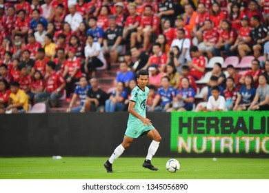 Amorn Thammanarm of Prachuap F.C.in action during The Football Thai League match between SCG Muangthong United and PT Prachuap F.C.at SCG Stadium on February24,2019 in Nonthaburi,Thailand