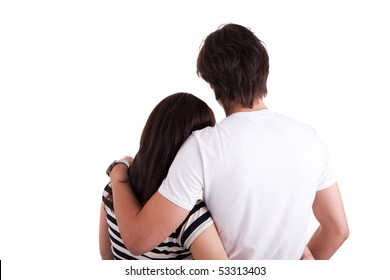 Amorous couple hugging, isolated on white background. Studio shot.