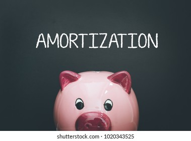 AMORTIZATION CONCEPT WITH PIGGY BANK
