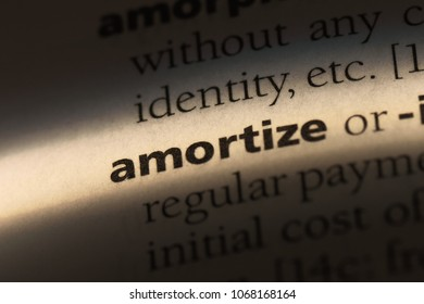 amortize word in a dictionary. amortize concept.